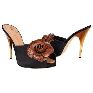 444a3ed618bb0 Giuseppe Zanotti Shoe Satin Mule Faux Croc Flower Ombre Gold Heel 38 / 8