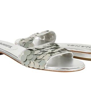 2f6f8a405f9e Chanel Shoe Silver Slide Light Catching Paillette Sequins 39.5  9.5 New