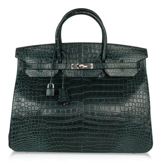 Hermes Birkin 40 Bag Vert Fonce Rare Matte Porosus Crocodile Palladium  Hardware 3c43cf8e4bb23