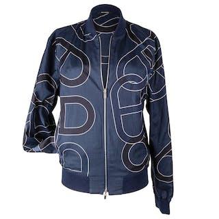 069316c3609 Hermes Men s Jacket Ancre Design Blue Reversible Bomber 50 nwt