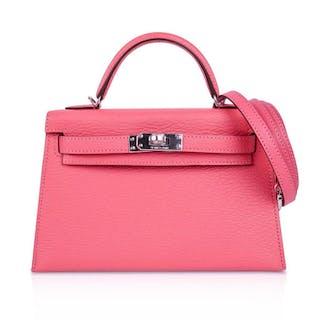 98e0c433e8d Hermes Kelly 20 Bag Sellier Rose Lipstick Chevre Leather Palladium Hardware