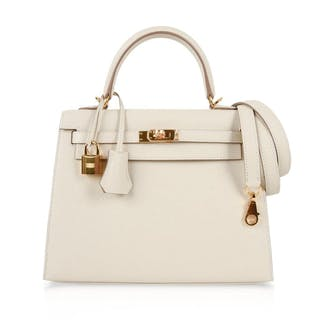 Hermes Kelly 25 Sellier Bag Neutral Craie Epsom Gold Hardware with Twilly –  Current sales – Barnebys.com 4d32cf9f25c6d