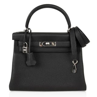 Hermes Kelly 28 Bag Black Retourne Togo Palladium Hardware e4fb9e3ebb533