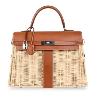 Hermes Picnic Kelly Bag 35 Wicker   Osier Palladium Hardware 5c39eba214c9c