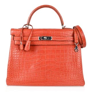 Hermes Kelly 35 Bag Retourne Matte Alligator Sanguine Palladium 0e71bbbbe5e62