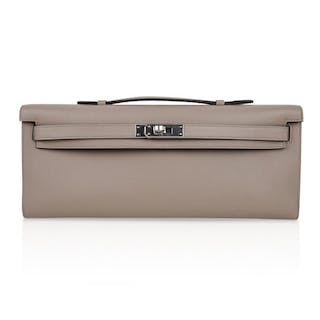 Hermes Kelly Cut bag Gris Asphalte Gray Clutch Swift Palladium 6af0bccd5bd47