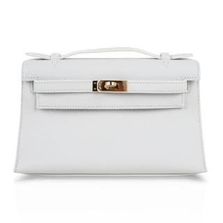 Hermes Kelly Pochette Clutch Bag Very Rare White Gold Hardware 7ed78bdbaaa2d