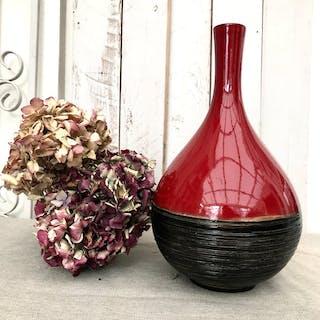 Red and Black Ceramic Vase