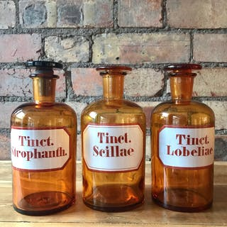 Trio of Vintage Apothecary Bottles