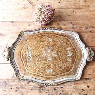 Florentine Vintage Wood Gilt Tray - White and Gold
