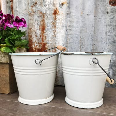 Pair of Vintage Enamel Buckets