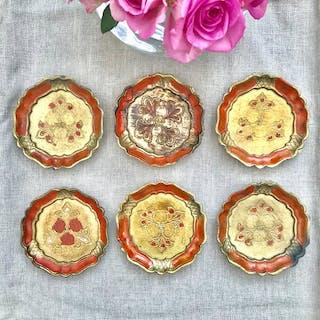 Set of Six Vintage Italian Florentine Coasters - Orange