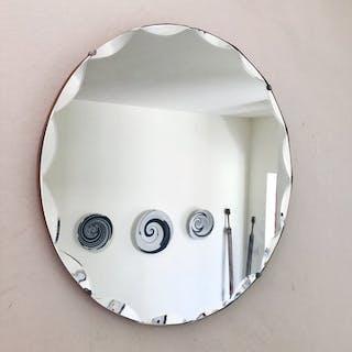 Scalloped Round Art Deco Frameless Mirror