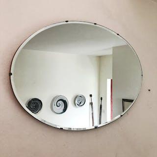 Large Oval Frameless Art Deco Mirror