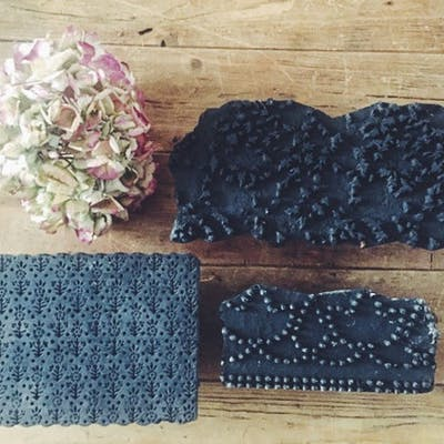 Vintage textile printing blocks set of 3