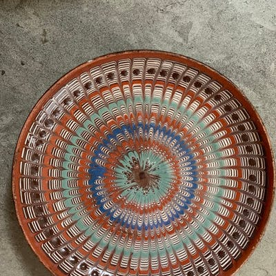 Decorative Patterned Plate in blues, terracotta and greens
