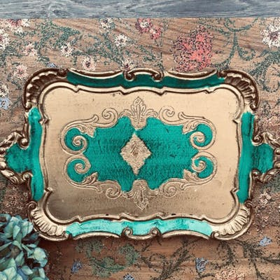 Emerald Green Florentine Vintage Gilt Tray