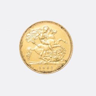 1982 Gold Half Sovereign Coin