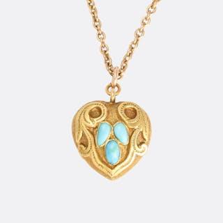 Mid-Victorian Turquoise Heart Locket