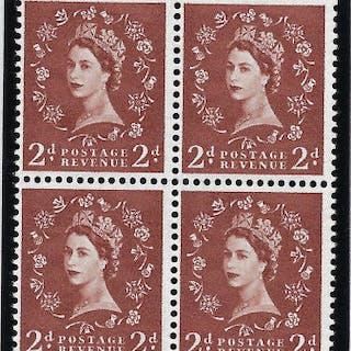Great Britain 1958 Queen Elizabeth II 2d light red brown SG38c