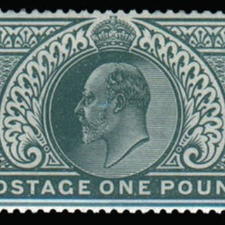 Great Britain 1902 King Edward VII £1 Dull blue green. SG266