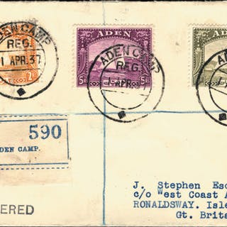 Aden 1937 (1 APR) registered 'J. Stephen' cover, SG10/12