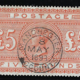 Great Britain 1883 Queen Victoria Surface Printed £5 orange plate 1. SG137.