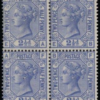 Great Britain 1880 2½d blue, plate 17. SG142
