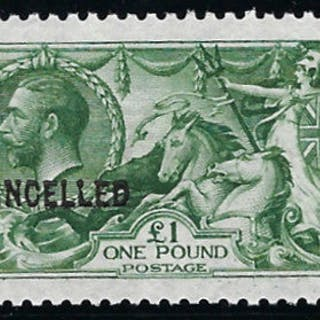 Great Britain 1913 King George V £1 yellowish green, SG403var