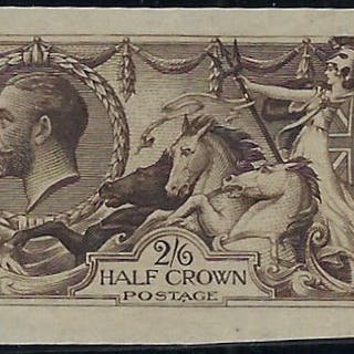 """Great Britain 1913 King George V 2s6d """"Seahorse"""" colour trial."""