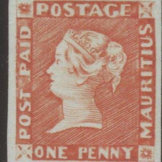 Mauritius 1854 1d. Bright Vermillion, Mint SG10
