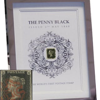Great Britain catalogue-standard Penny Black housed in an attractive frame SG2