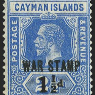 CAYMAN ISLANDS 1917 'WAR STAMP' 1½d on 2½d deep blue, SG55
