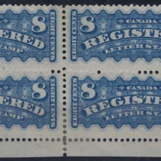 Canada 1875-92 Registration Stamps, SGR1, R7a, R8/9