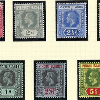 British Virgin Islands 1913 (Feb) King George V chalk surfaced paper SG69/77