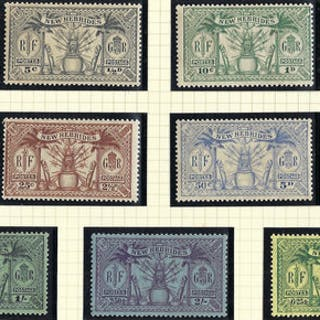 New Hebrides 1925 (June) 1/2d to 5s green/yellow set of 9, SG43/51