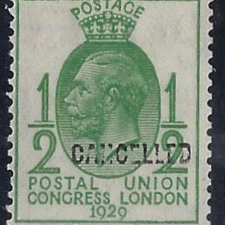 Great Britain 1929 1/2d green Postal Union Congress, SG434var