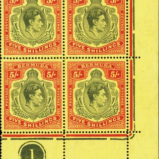 Bermuda 1938-53 5s dull yellow-green and red/yellow, SG118b/bd/be