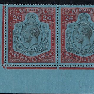 Bermuda 1924-32 2s6d black and red/blue SG89g