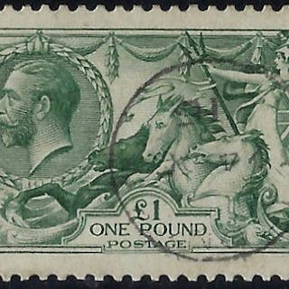 "Great Britain 1913 £1 Green ""Seahorse"", SG403"