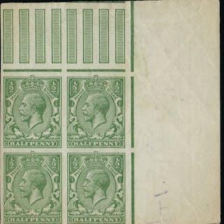 Great Britain 1913 1/4d yellow green colour trials, SG351var