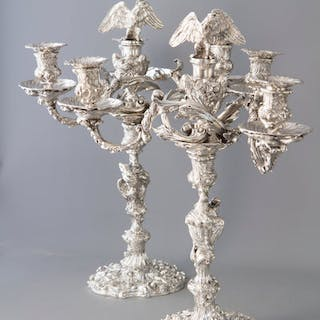 An Impressive Pair of Cast Silver Four-Light Candelabra, London 1812