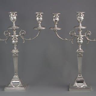 A Very Fine Pair of Silver Three Light Victorian Candelabra Sheffield 1898