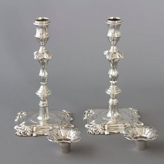 A Very Good Pair of Georgian Cast Silver Candlesticks, London 1752