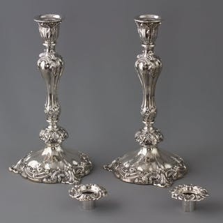 A Very Good Pair of Victorian Silver Candlesticks Sheffield 1847 by