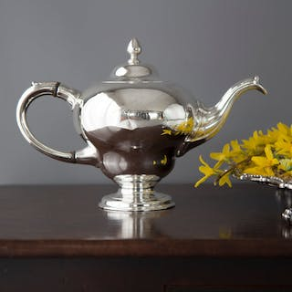 A Rare & Superb George II Scottish Silver Teapot, by Edward Lothian