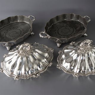 An Outstanding Pair of Silver Vegetable Tureens or Entree Dishes with