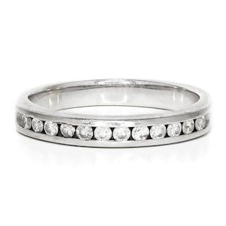 Round Diamond Channel Set Wedding Band in 14kt White Gold 0.35ctw 3MM