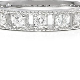 Round Diamond Milgrain Wedding Band 14K .40ctw
