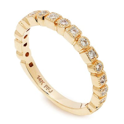 Round Diamond Wedding Band Stackable 14K Rose Gold .20ctw